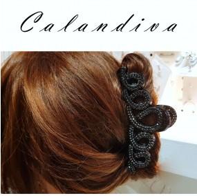 매력있는 블랙 큐빅 회오리 올림머리 집게핀
