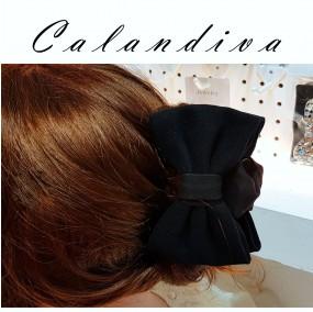 부드러운 스웨이드 리본 올림머리 집게핀 블랙