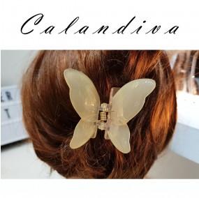 예쁜 뒷모습 나비 올림머리 집게핀 반투명 아이보리